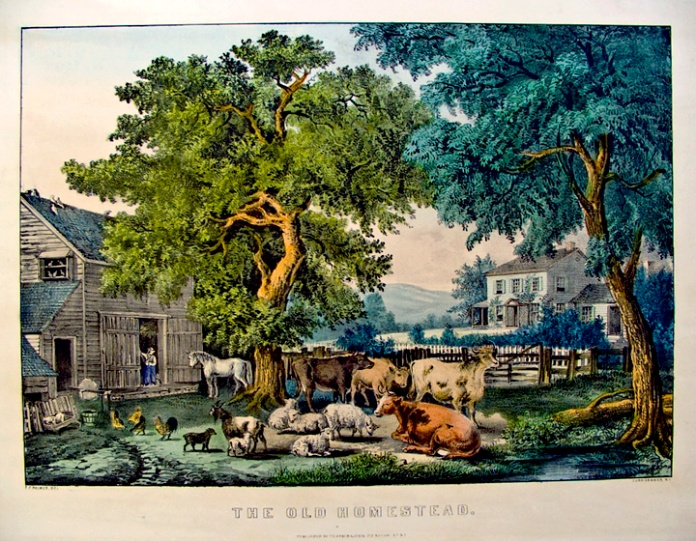 The Old Homestead. By Fanny F. Palmer. Published by Currier & Ives. Lithograph handcolored, undated. Medium folio. LINK.