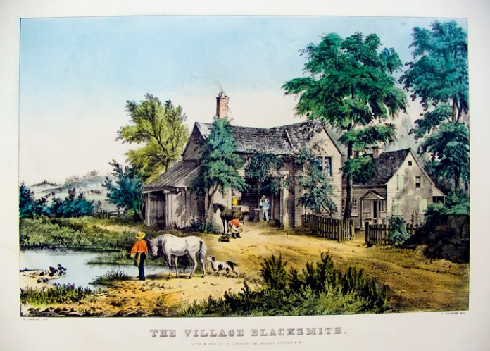 The Village Blacksmith. By Fanny F. Palmer. Pub. by N. Currier. Lithograph handcolored, undated. Medium folio. LINK.