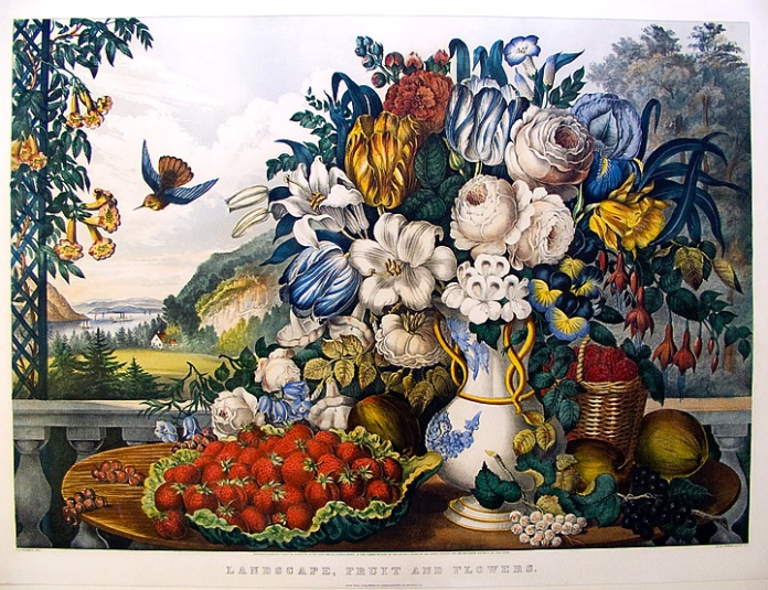Landscape, Fruit and Flowers. By Fanny F. Palmer. Published by Currier & Ives. Two-color lithograph handcolored, 1862. Large folio. LINK.