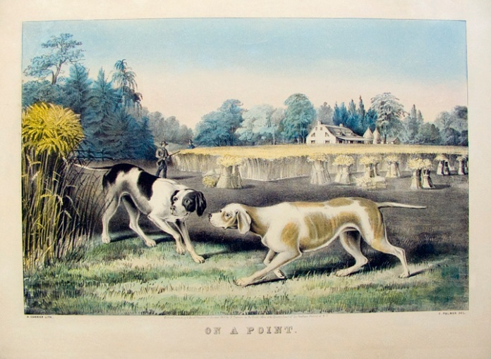 On a Point. By Fanny F. Palmer. Published by N. Currier. Lithograph handcolored, 1855. Medium folio. LINK.