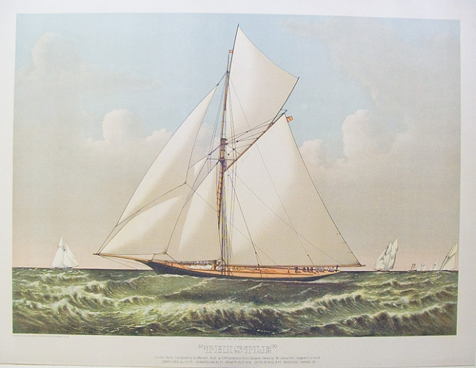 """Thistle"" : Cutter Yacht, Designed by G. L. Watson : Built by D. W. Henderson & Co. Glasgow.  Owned by Mr. Bell, Glasgow Scotland. Published by Currier & Ives, N.Y. Lithograph printed in oil color, 1887. Large folio. LINK."