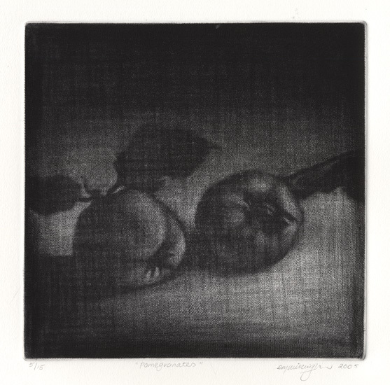 Pomegranates. Cleo Wilkinson.  Mezzotint, 2005. Edition 15.
