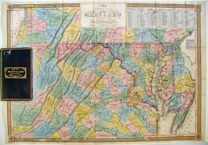 "The Tourist's Guide through the States of Maryland, Delaware and Parts of Pennsylvania & Virginia, with the Routes to their Springs, &c. By Fielding Lucas, Jr. Engraving, 1836. Image zie 13 7/8 x 19 5/8"" (498 x 353 mm) plus margins.  LINK."