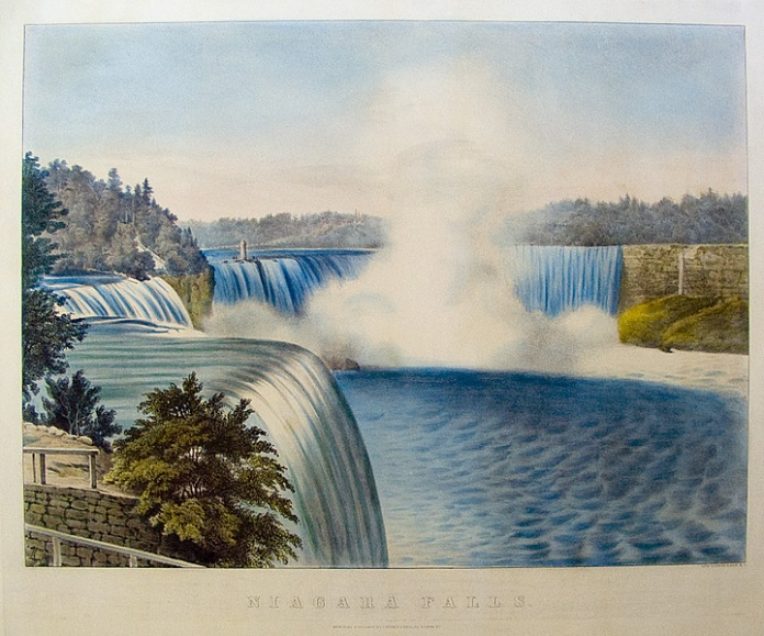 Niagara Falls. Published by Currier & Ives, 152 Nassau St. Lithograph with handcoloring, undated.  Medium folio size. LINK.