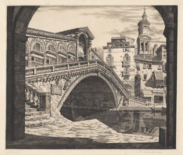 Shadows of Venice. By John Taylor Arms. Etching, 1930. Ed. 100.
