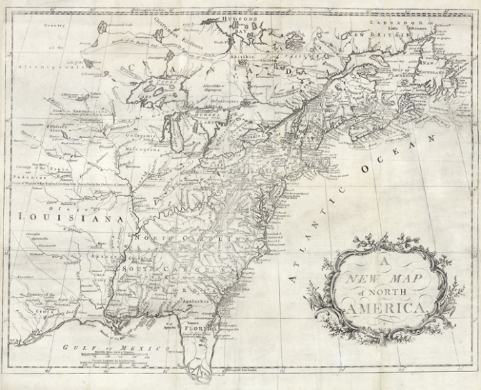 A New Map of America. Copper plate engraving, undated, c.1760. Good condition save for splitting along fold lines. Professionally conserved. Black & white.