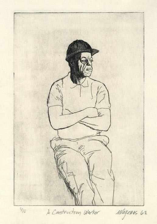 Construction Worker. By Nicholas Vagenas. Etching, 1968. Ed. 1/10.
