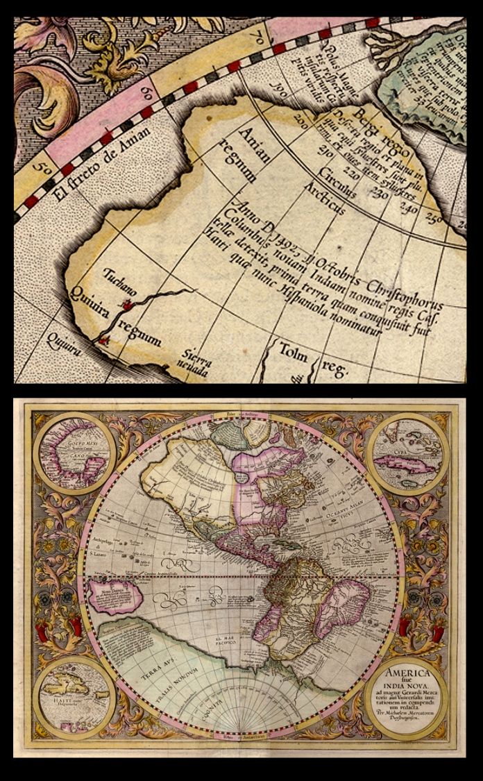 America sive India Nova. By Michael Mercator. Published by Rumold Mercator, Duisburg. Copper plate engraving, 1595 (c.1616-1619). LINK.
