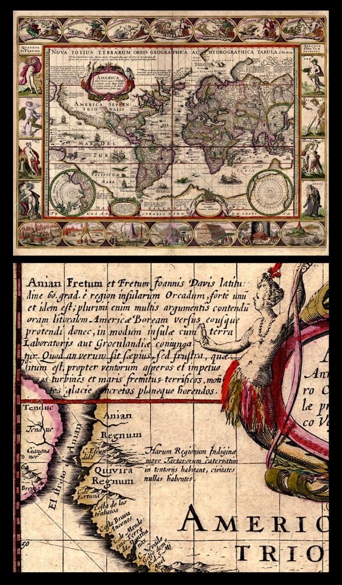 Nova Totius Terrarum Orbis Geographica Ac Hydrographica Tabula. By Pieter van den Keere. Issued by Joannes Jansonius, Amsterdam. Copper-plate engraving, handcolored, 1608 - c.1630. LINK.