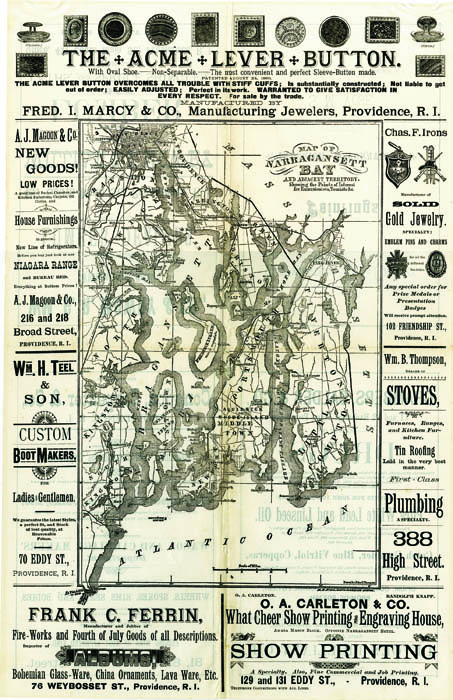 """Map of Narragansett Bay and adjacent territory. Showing the points of interest for Excursionists, Tourists &c. By John Thompson. Engraving, Undated, c.1890. Sheet size 18 1/2 x 12"""" (470 x 305 mm). LINK."""
