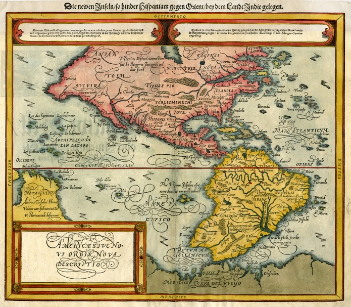 """Americae sive Novi Orbis, Nova Descriptio. Sebastain Munster.  Published by Sebastain Petri, Basel. Woodcut, 1588. 1628 edition. Image size 12 1/8 x 14 1/8"""" (306 x 360 mm) plus margins. Very good condition; black and white. Framed in acid-free zinc mat with gold line, in gold frame and UV glass. Framed map $3,100."""