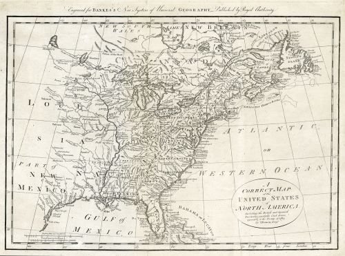 "A Correct Map of the United States of North America Including the British and Spanish Territories carefully laid down agreeable to the Treaty of 1784. Thomas Bowen. Published London. Copper plate engraving, 1787-90. Image size 12 3/8 x 17 5/8"" (314 x 447 mm). Good condition, save small marginal repairs.  Framed with acid-free black mat, antique top mat, brushed gold frame, and UV Plexiglas. Framed $2,220.00"