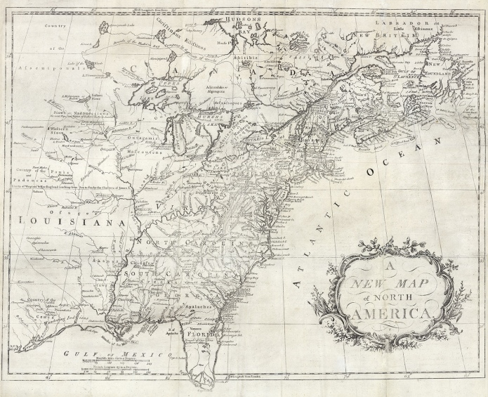 "A New Map of North America. Copper plate engraving, undated, c.1760. Image size 16 7/8 x 21 1/2"" (429 x 546 mm) plus margins. Good condition, save for splitting along fold lines. Professionally conserved. Black & white. Framed with acid-free zinc mat, gold spandrel, zinc top mat, light gold beaded frame with gold panel, and UV Plexiglas. Framed map $2,230."