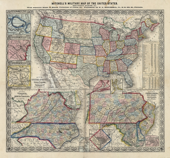 "Mitchell's Military Map of the United States, showing forts, &c. With separate maps of states, vicinities of cities &c.  S. Augustus Mitchell. Published by S.A. Mitchell Jr., Philadelphia. Stone engraving, 1861. Image size 22 3/4 x 25 1/4"" (64.1 x 57.8 cm) plus margins. Good condition, save for several short tears along sheet edges and fold lines. Small stain in upper title. Backed on rice paper.  Framed with acid-free black bottom mat, antique tan top mat, gold frame with aged patina, and UV Plexiglas. Framed $2,950.00"