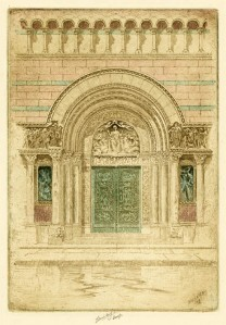The Door of St. Bartholomew's. Charles Mielatz.  Three-plate color etching, 1909. LINK.