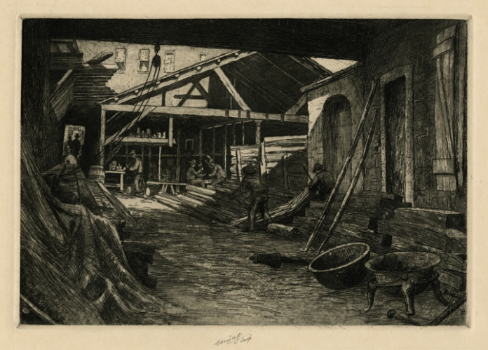 Old Spar Yard, South Street. Charles Mielatz. Etching, roulette, and sandpaper, undated. LINK.