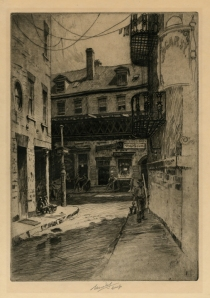 Edgar Street (The Shortest Street in New York City). Charles Mielatz. Etching, 1910. LINK.