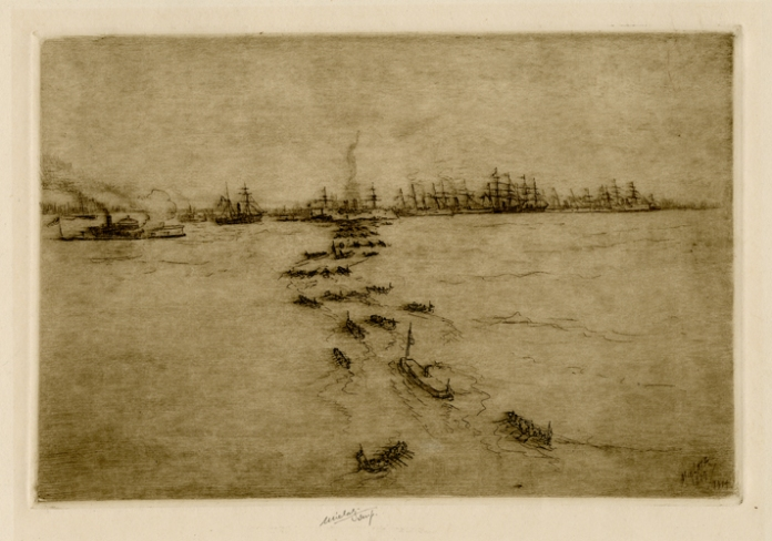 Ericsson's Day No.1. Charles Mielatz. Drypoint, 1914. LINK.