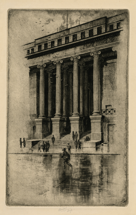 Porch of the Old Customs House (Wall Street). Charles Mielatz. Etching, 1909. LINK.