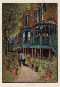 Spingler-Van Beuren - The Covered Porch. Charles Mielatz. Color etching, 1913. LINK.
