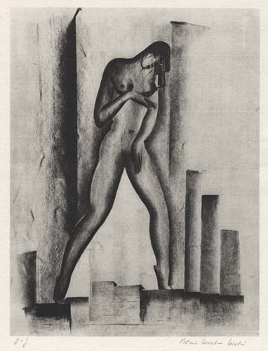 Female Figure with Architectural Objects. [Untitled.] Boris Lovet-Lorski. Printed in Paris by Ad. Braun & Co. Lithograph, c.1929. Signed in pencil. Image size 12 3/8 x 9 3/8 inches. LINK.