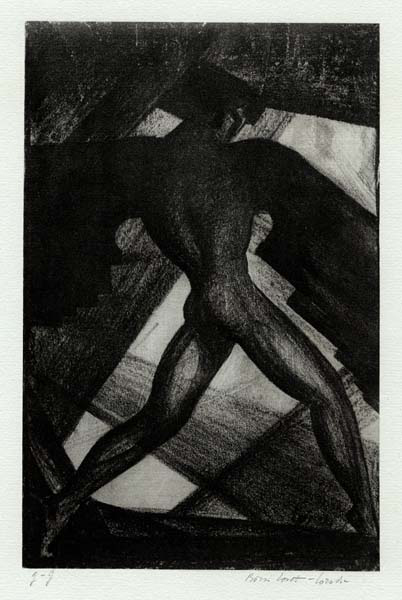 """Winged torso. (Untitled). Boris Lovet-Lorski. Lithograph on light blue/green paper, c.1929. Signed in pencil. Inscribed """"F. J."""" Image size: 10 x 6 1/2 inches. LINK."""