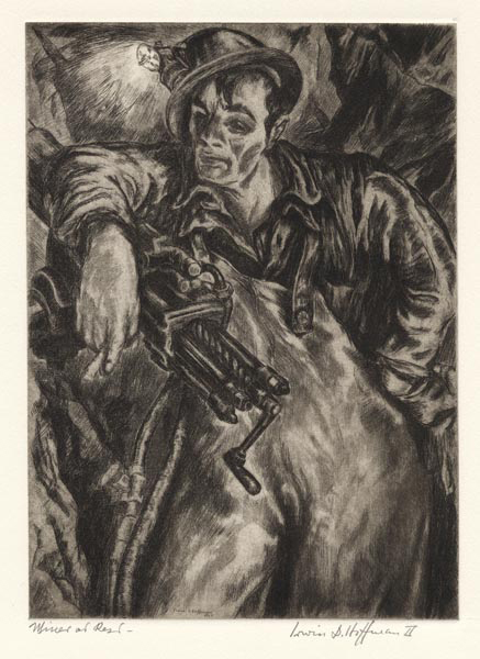 Miner at Rest. Irwin D. Hoffman. Etching, 1937. Edition 50. Signed and titled in pencil.  Second printing, c.1975. LINK.