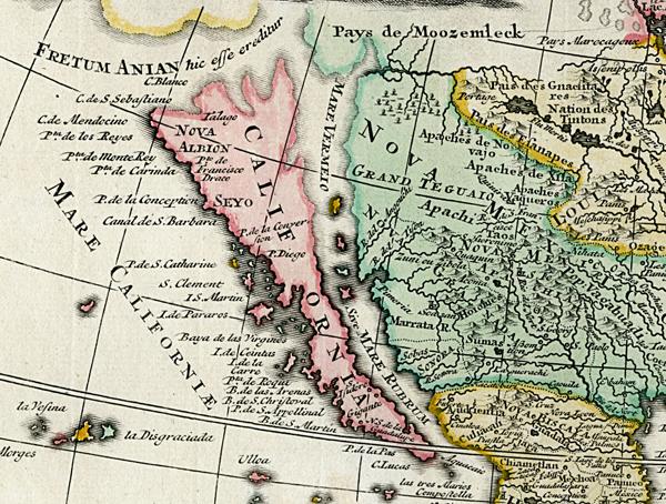 Detail of California as an island.