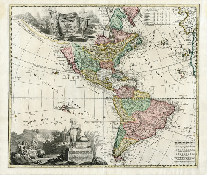 Americae tam Septentrionalis quam Meridionalis in Mappa Geographica Delineatio ... Opera A.F. Zurneri ... Ex Officina Petri Schenkii in Platea vulgo de Warmoes Straat sub Signo N Visschers Athlas.  (Double click for higher resolution).