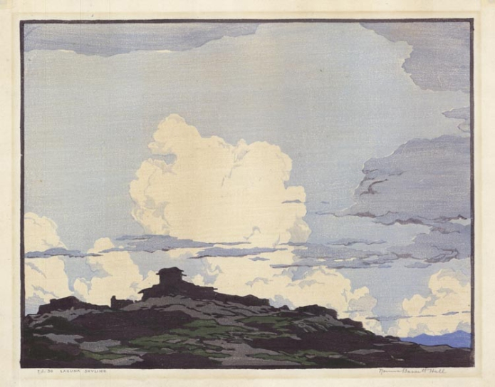 Laguna Skyline. [New Mexico.] By Norma Bassett Hall. Color woodblock, 1931. Signed and titled in pencil. LINK.