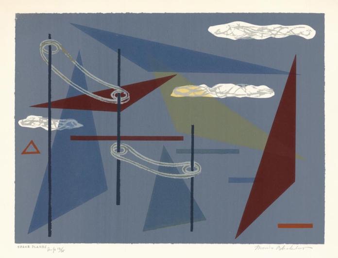 Space Planes. Morris A. Blackburn. Serigraph, c. 1950. LINK.