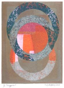 "Kingpin. By Evangeline ""EJ"" Montgomery. Monoprint etching, 2013. Ed. 1/1."