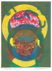 "Nefertiti's Pendant. By Evangeline ""EJ"" Montgomery. Monoprint etching, 2013. Ed. 1/1"