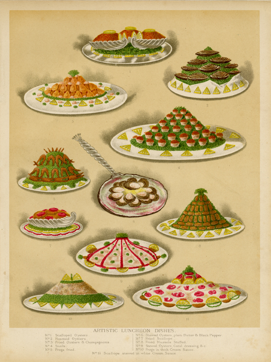 Artistic Luncheon Dishes. Pub by L. Upcott Gill, London. Chromolithograph, c. 1890. Image size: 9 3/8 x 7 3/8 inches. A composite of 11 artfully arranged luncheon meals, including oysters, snails and scallops. LINK.