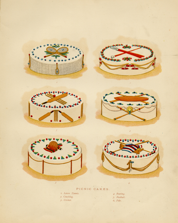 Picnic Cakes. Pub by L. Upcott Gill, London. Chromolithograph, c. 1890. Image size: 6 3/8 x 6 3/8 inches. A composite of six decorated cakes. LINK.