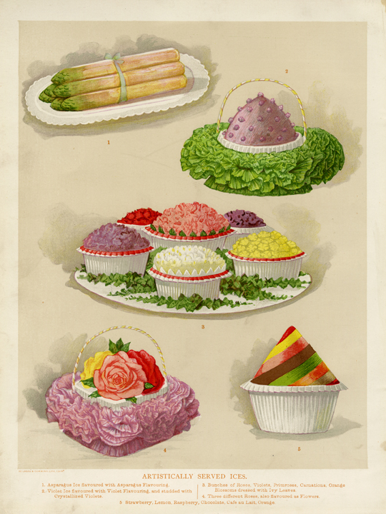 Artistically Served Ices. Pub by L. Upcott Gill, London. Chromolithograph, c. 1890. Image size: 9 1/4 x 7 1/4 inches. A composite of five decorative iced desserts. LINK.