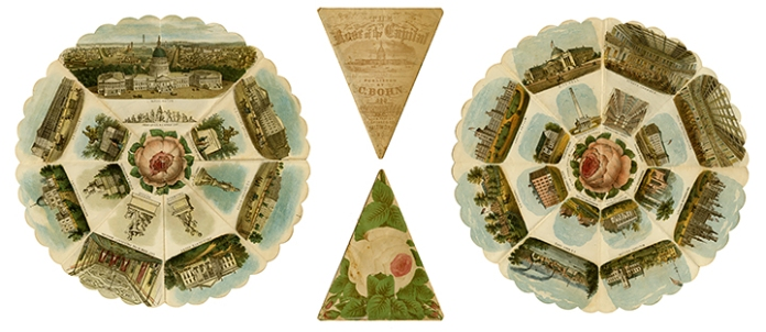 """The Rose of the Capital. Published by Casimer Bohn, Washington. Multi-stone lithograph, 1861. Circular. Sheet size, 13 1/2"""" (341 mm). Triangular envelope, 6 7/8 x 5 5/8"""". LINK."""