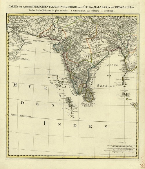 "Carte d'une Partie des Indes Orientales, Etats du Mogol les Cotes de Malabar et de Coromandel &c. Published by J. Covens & C. Mortier, Amsterdam. Copper engraving, original outline color, c.1700. Image size 21 3/8 x 19 1/2"" (544 x 498 mm) plus margins. Very good condition. Original hand coloring. LINK."
