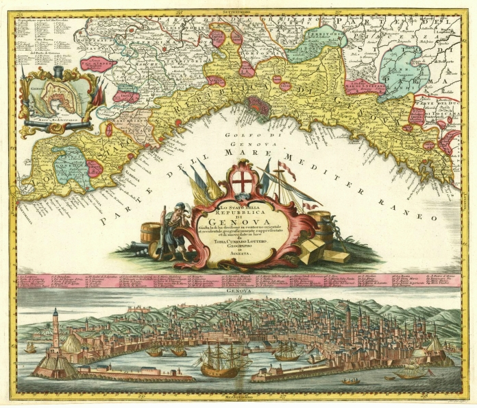"Lo Stato della Repubblica di Genova. Tobias Conrad Lotter. Published in Augsburg. Copper plate engraving, c.1770. Image size 19 1/8 x 22 1/2"" (487 x 572 mm). Good condition. Tight lower margin, as issued. Nicely handcolored. LINK."