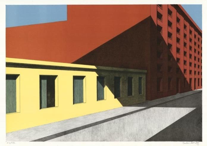 The Shadow of Brooklyn Bridge. By Emilio Sanchez. Color lithograph, 1988. Ed 40/100. LINK.