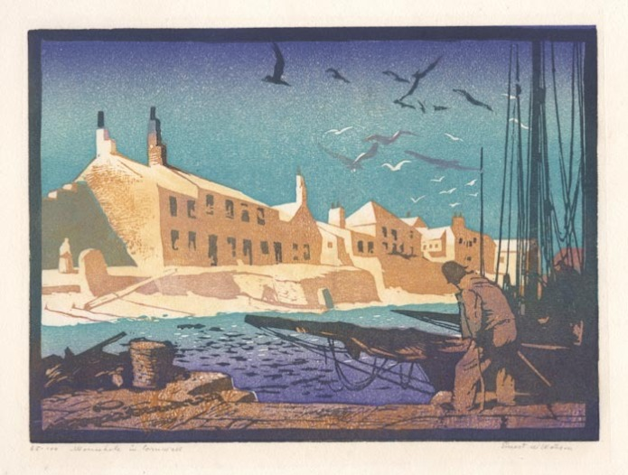 Mousehole in Cornwall. By Ernest W. Watson. Color linoleum cut, c.1930. Signed and titled in pencil. Edition 100. 65/100. LINK.