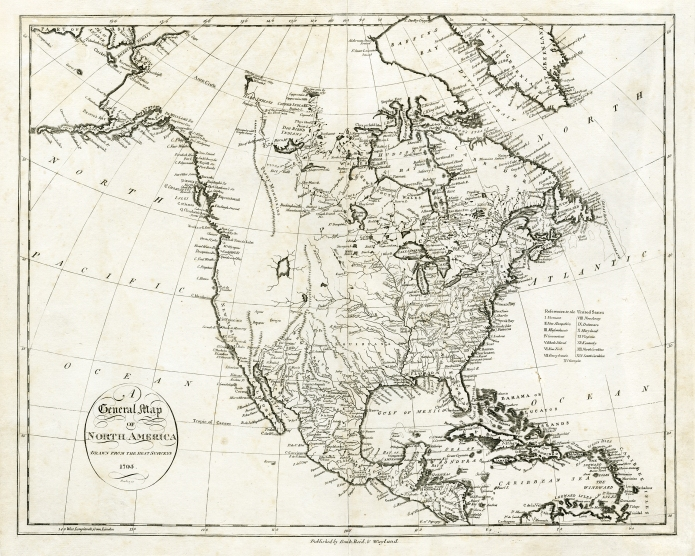 "General Map of North America Drawn from the Best Surveys. 1795. By John Reid. Published by Smith, Reid, & Wayland. Copper plate engraving, 1796. Image size 14 5/16 x 18 1/4"" 9364 x 463 mm). Good condition. Black & white. LINK."