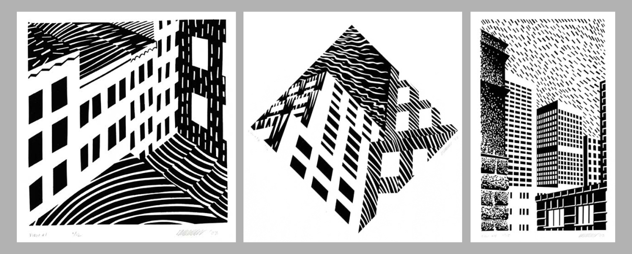 (From Left to Right:) Urban Views #1. Urban Views #2B. Urban Views #4. By Patrick Anderson. Serigraphs, 2003.