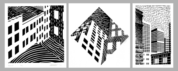 (From Left to Right:) Urban Views #1. Urban Views #2B. Urban Views #4. By Patrick Anderson. Serigraphs, 2003.