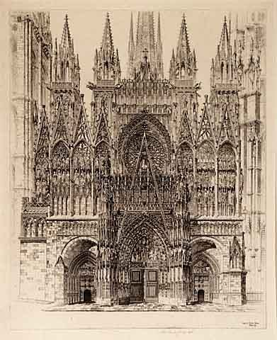 Lace in Stone, Rouen Cathedral. By John Taylor Arms. Etching, 1927.