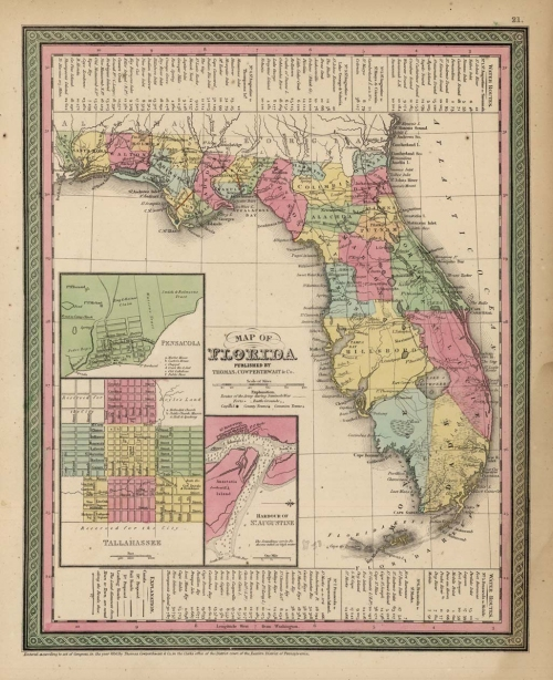 Map of Florida. By S. Augustus Mitchell. Published by Thomas, Cowperthwait & Co., Philadephia. Engraving, hand colored, 1853. Image size 14 3/8 x 11 1/2, plus margins. Good condition, save for some faint damp staining in the lower right. Original hand coloring. LINK.