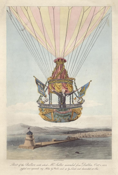 "Part of the Balloon with which Mr. Sadler ascended from Dublin, Octr. 1, 1812. : passed over upwards 237 Miles by Water, and 40 by Land, and descended at Sea. Robert Havell, Jr. Aquatint and engraving handcolored, undated, c.1812. Image size 13 1/4 x 9 1/8"" (337 x 230 mm).LINK."