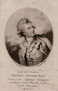 "Mr. Vincent Lunardi Esquire. Stipple engraving, 1784. Oval size 4 3/4 x 4 "" ( 122 x 102 mm). LINK."