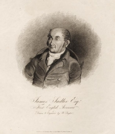 "James Sadler Esq. First English Aeronaut. By Benjamin Taylor. Published by B. Taylor, No. 7 Brewer St. Golden Sq., London. Stipple engraving, 1812. 5 1/2 x 6 1/4"" (140 x 160 mm) plus title and margins. LINK."