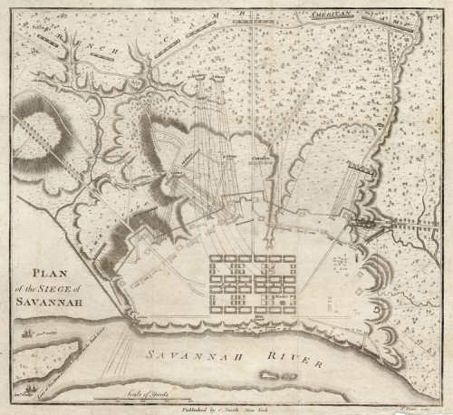 Plan of the Siege of Savannah. Published by Charles Smith, New York. Engraved by Charles B. J. F. Saint-Memin. Copper plate engraving, 1796-97. Images size 8 1/4 x 9 1/8 inches, plus margins. Good condition. Black & white. LINK.